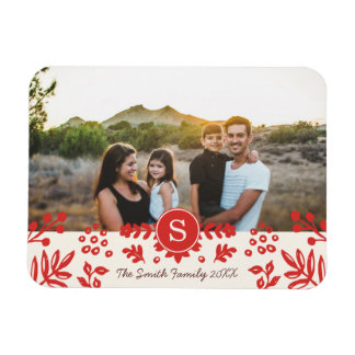 Folk Art Holiday Monogram Photo Magnet