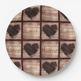 Folk Art Home Sweet Home Collage Hearts Paper Plate
