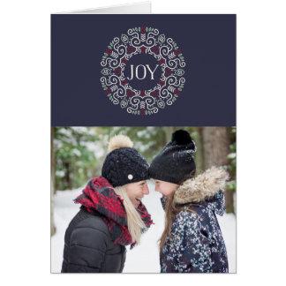 Folk Art Joy | Folded Holiday Photo Greeting Card