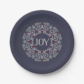 Folk Art Joy Holiday Paper Plate