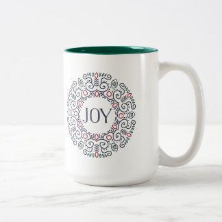 Folk Art Joy Holiday Two-Tone Coffee Mug