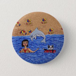 Folk Art Lady Cat Beach Ocean Dolphin Swimming 6 Cm Round Badge