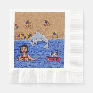 Folk Art Lady Cat Beach Ocean Dolphin Swimming Disposable Serviettes
