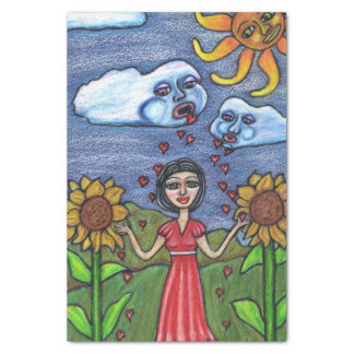 Folk Art Lady Clouds Sunflowers Sun Hearts Tissue Paper