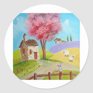 Folk art landscape mouse sheep old cottage classic round sticker