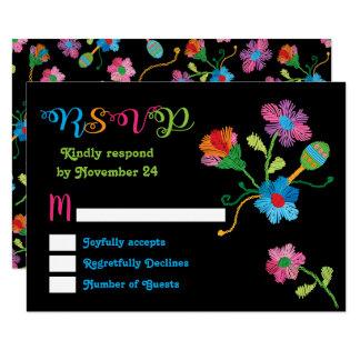 Folk art Mexican Fiesta Embroidery RSVP Card
