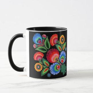 Folk Art Night Flowers Combo Mug