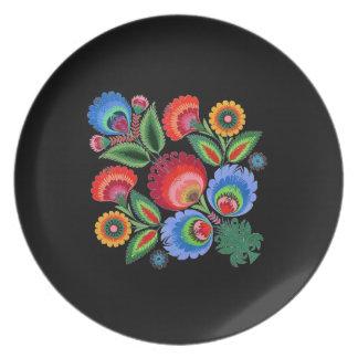 Folk Art Night Flowers Melamine Plate
