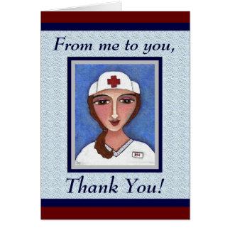 Folk Art Nurse - RN / nursing thank you card