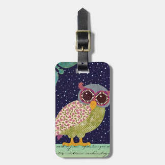Folk Art Pattern Owl at Night Luggage Tag