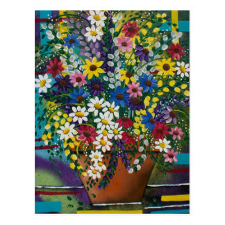 FOLK ART Pot Of Daisy's BY LORI EVERETT postcard