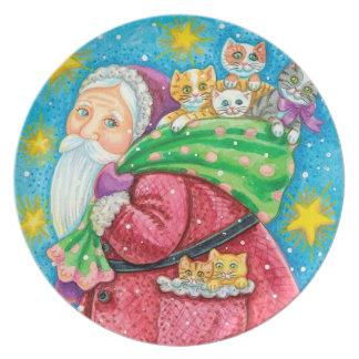 Folk Art Santa & Kittens Christmas plate