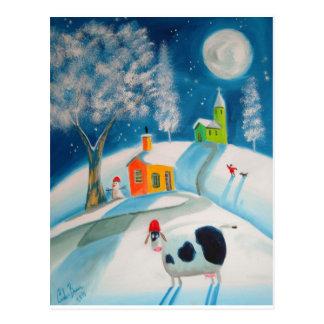 FOLK ART SNOW SCENE COW MOON POSTCARD
