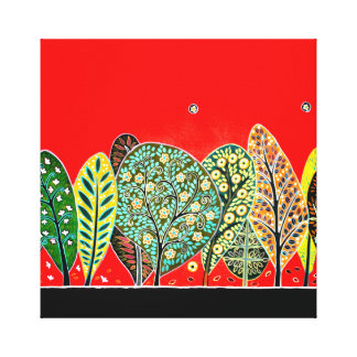 Folk art style forest painting canvas print