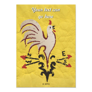 Folk Art Style Rooster 13 Cm X 18 Cm Invitation Card