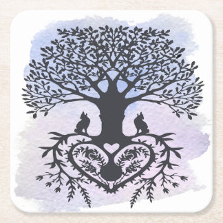 Folk Art Tree of Life Square Paper Coaster