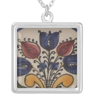 Folk Art Tulips Silver Plated Necklace