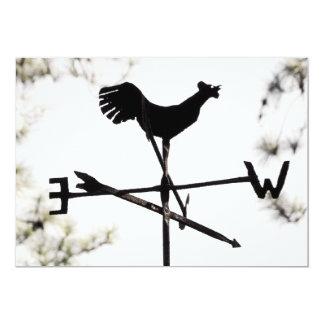 """Folk Art Weather Vane on Metal Barn Roof 5"""" X 7"""" Invitation Card"""
