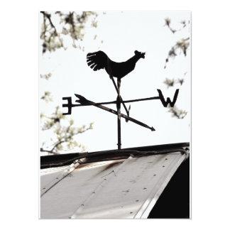 """Folk Art Weather Vane on Metal Barn Roof 5.5"""" X 7.5"""" Invitation Card"""