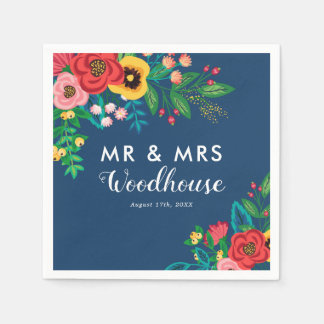 Folk Bouquet - Blue Boho Mr & Mrs Wedding Disposable Serviettes