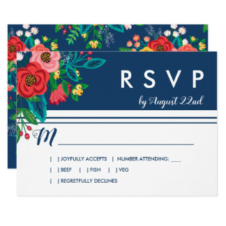 Folk Bouquet - Blue Boho RSVP Card