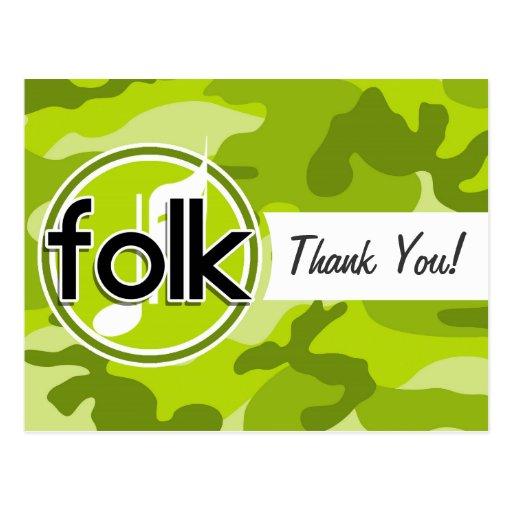 Folk; bright green camo, camouflage postcard