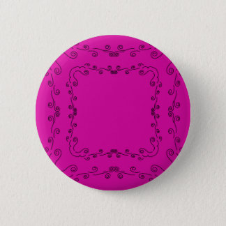 Folk elements pink with black 6 cm round badge