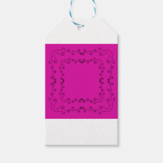 Folk elements pink with black gift tags