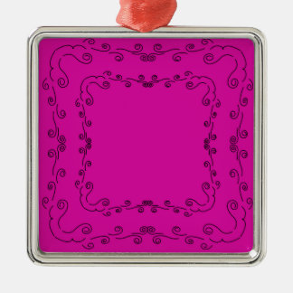 Folk elements pink with black metal ornament