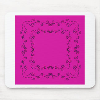 Folk elements pink with black mouse pad