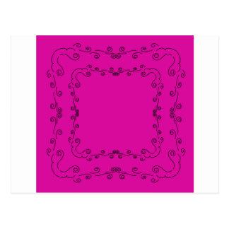 Folk elements pink with black postcard