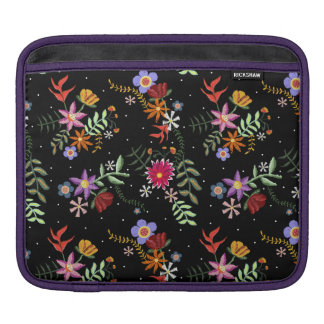 Folk embroidering iPad sleeve