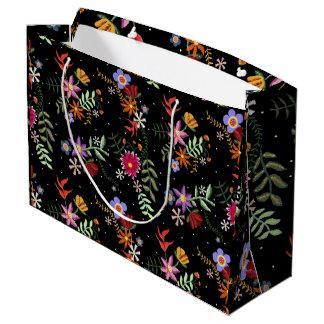 Folk embroidering large gift bag
