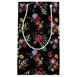 Folk embroidering small gift bag