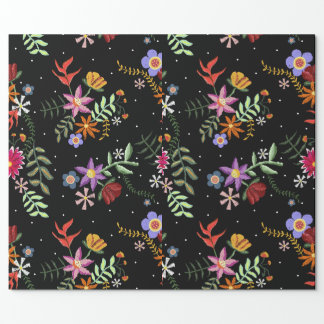 Folk embroidering wrapping paper