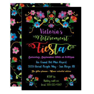 Folk Embroidery Mexcian Fiesta Retirement Party Card