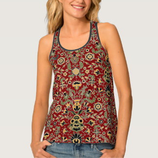 Folk Embroidery Yellow, Green, Black on Deep Red Singlet