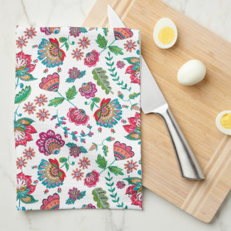 Folk Flowers Floral Pattern | Kitchen Towel