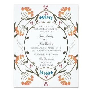 Folk Flowers Invitation with blue detail