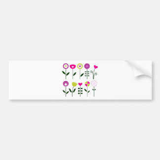 Folk flowers / magical pink black on white bumper sticker