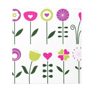 Folk flowers / magical pink black on white notepad