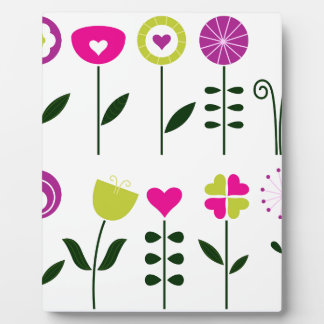 Folk flowers / magical pink black on white plaque