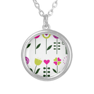 Folk flowers / magical pink black on white silver plated necklace