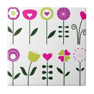 Folk flowers / magical pink black on white tile