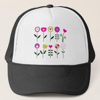 Folk flowers / magical pink black on white trucker hat