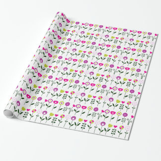 Folk flowers / magical pink black on white wrapping paper