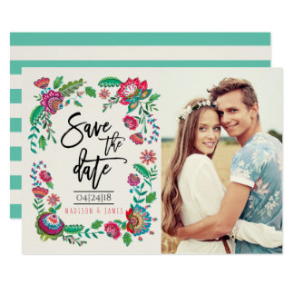 Folk Flowers | Photo | Save the Date | Invitation