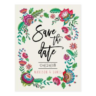 Folk Flowers | Save the Date | Postcard