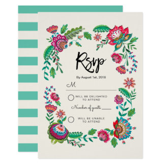 Folk Flowers | Stripe | Rsvp Reply card Invitation