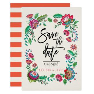 Folk Flowers | Stripe | Save the Date | Invitation